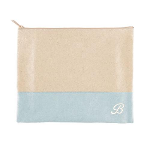 Embroidered Name Natural Makeup Bag, Baby Blue
