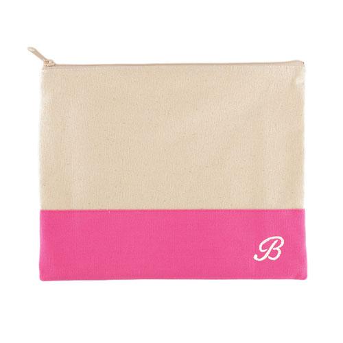 Embroidered Name Natural Makeup Bag, Hot Pink