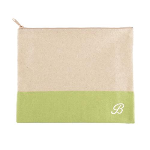 Embroidered Name Natural Makeup Bag, Apple Green