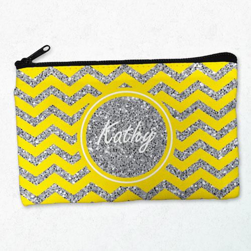 Yellow Glitter Chevron Personalized Cosmetic Bag, Medium