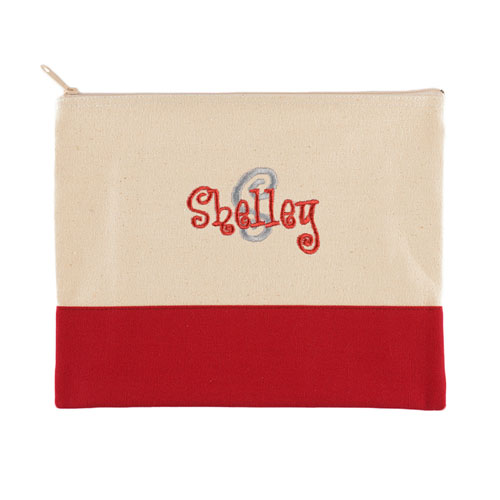 Name & Initial Personalized Red Makeup Case