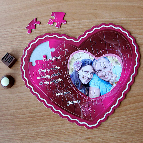 I Love You Personalized Heart Shape Photo Puzzle