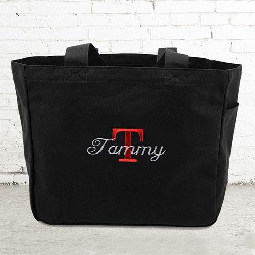 Name & Initial #1 Personalized Black Tote Bag