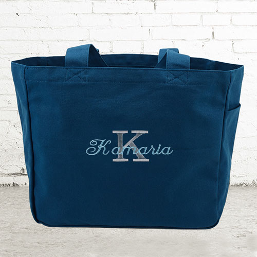 Name & Initial #1 Personalized Navy Tote Bag