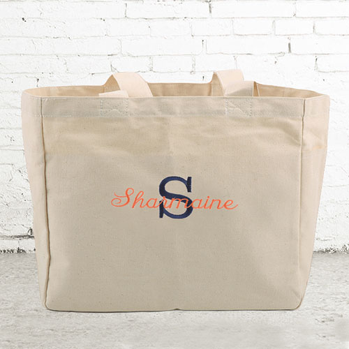 Name & Initial #1 Personalized Beige Tote Bag