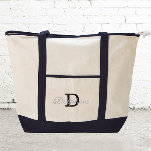 Personalized Black Canvas Tote Bag