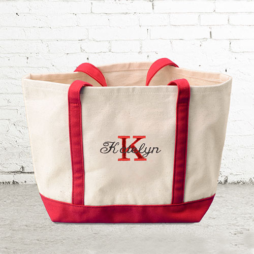 name initial 1 personalized red canvas tote bag small