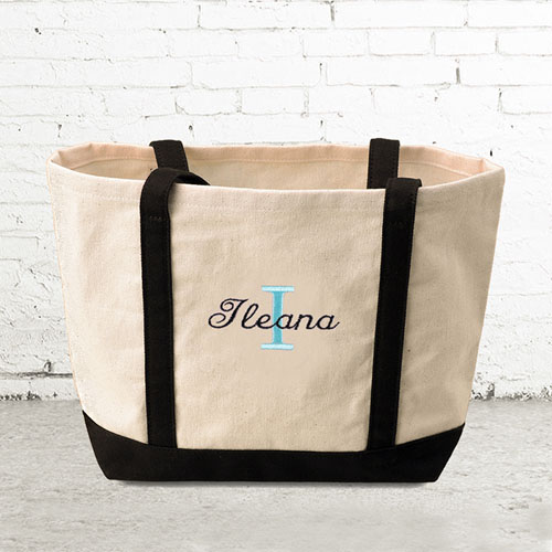 Name & Initial #1 Personalized Black Canvas Tote Bag (Small)