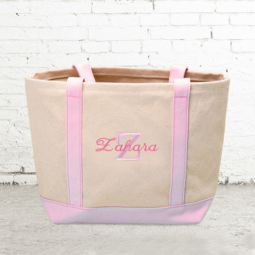 Name & Initial #1 Personalized Pink Canvas Tote Bag (Small)