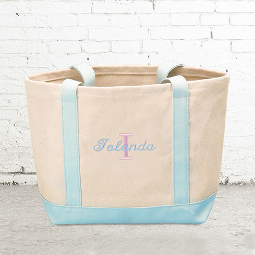 Name & Initial #1 Personalized Light Blue Canvas Tote Bag (Small)