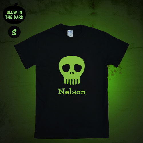 Skull Mask Personalized Glow In The Dark Halloween T Shirt, Adult Small
