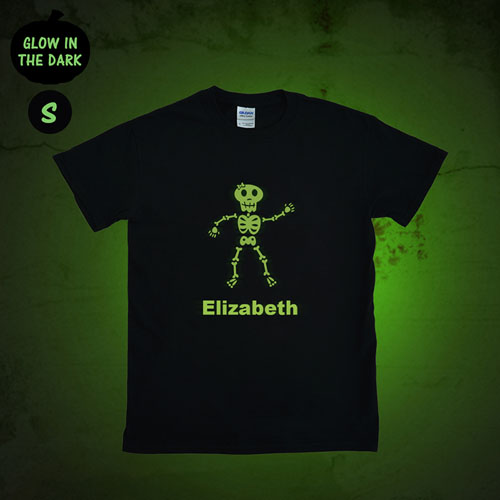 Girl Skull Personalized Glow In The Dark Halloween T Shirt, Adult Small