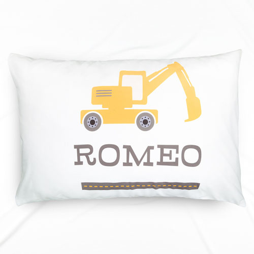 Excavator Personalized Name Pillowcase For Kids