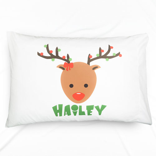 Reindeer Personalized Name Pillowcase For Kids