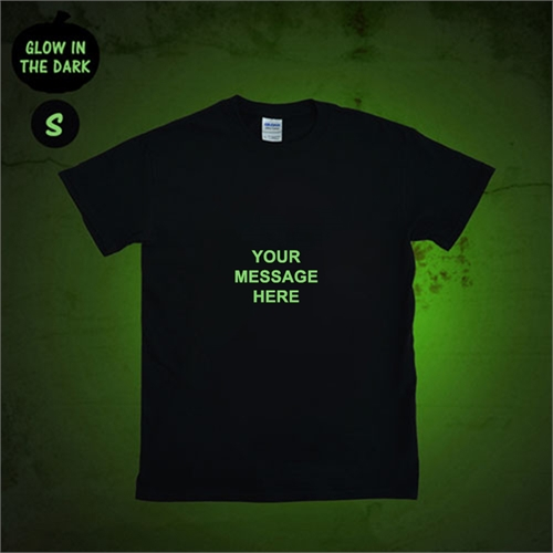 Custom Message Glow In The Dark T Shirt, Adult Small