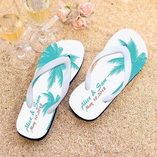 c660c02c728c Palm Tree Personalized Beach Wedding Flip Flops White Strap
