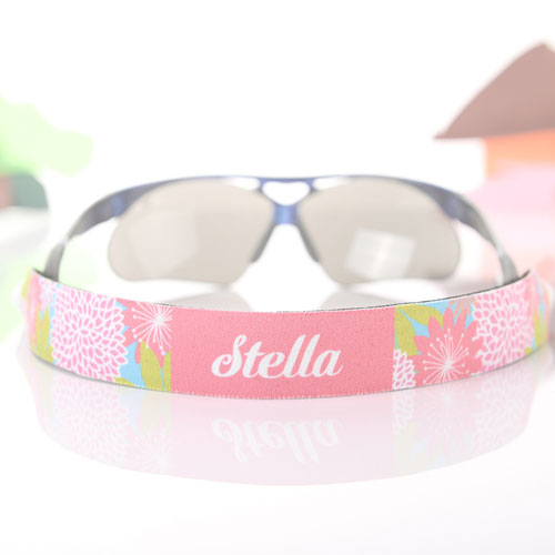Pink Floral Personalized Sunglass Strap
