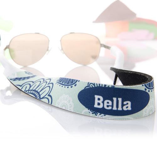 Aqua And Blue Floral Personalized Sunglass Strap