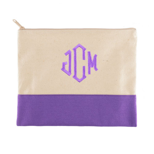 Personalized Embroidered 3 Initials Purple Zip Case