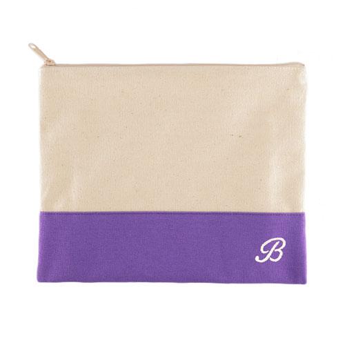 Embroidered Name Natural Makeup Bag, Purple