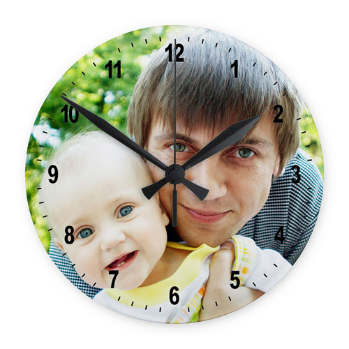 Photo Gallery Frameless Large Round Clock Black Number 10.75