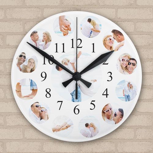 Twelve Photo Collage Personalized Frameless Large Round Clock, 10.75