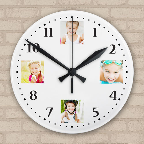 Four Collage Personalized Large Round Clock, 10.75