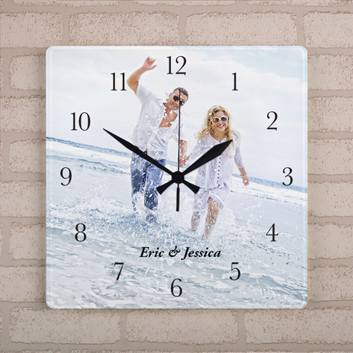 Personalized Large Square Clock Black Number & Hands, 10.75