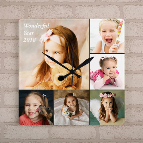 Six Photo Collage Personalized Large Square Clock, 10.75