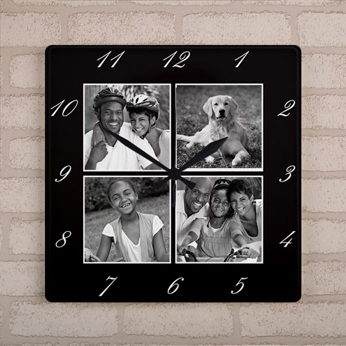 Black Frame Four Collage Personalized Large Square Clock, 10.75