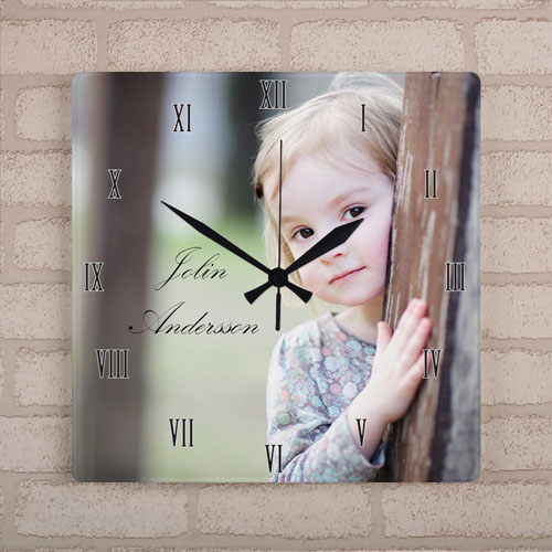 Personalized Photo Large Square Clock Roman Number, 10.75