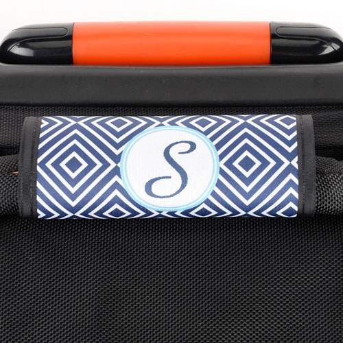 Navy Ikat Personalized Luggage Handle Wrap
