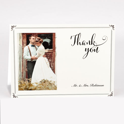 Personalized Vintage Thank You Photo Card For Wedding