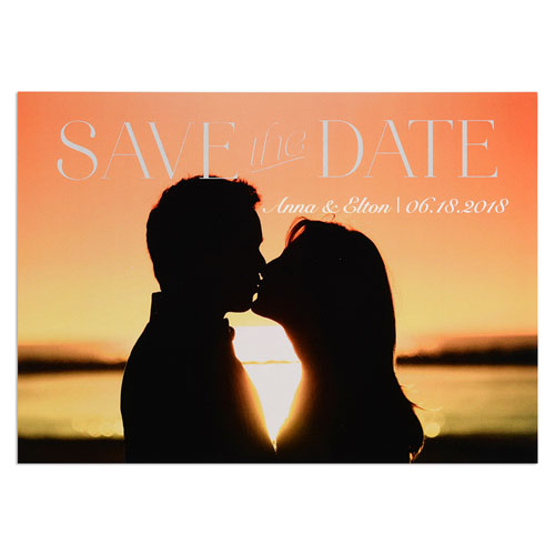 Block Letter Personalized Photo Save The Date Card