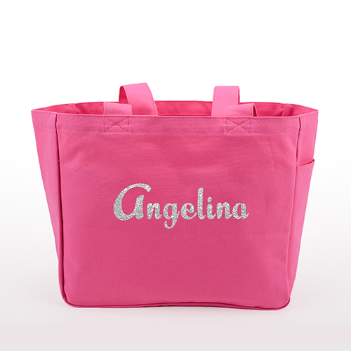 Glitter Text Personalized Cotton Tote Bag, Hot Pink