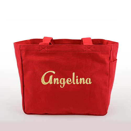 Glitter Text Personalized Cotton Tote Bag, Red