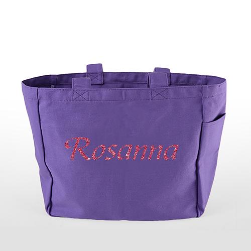 Glitter Text Custom Cotton Tote Bag, Purple