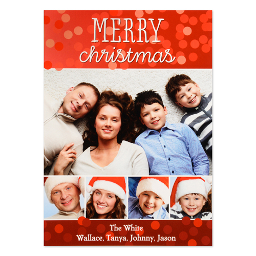 Merry Christmas Five Collage Personalized Photo Card