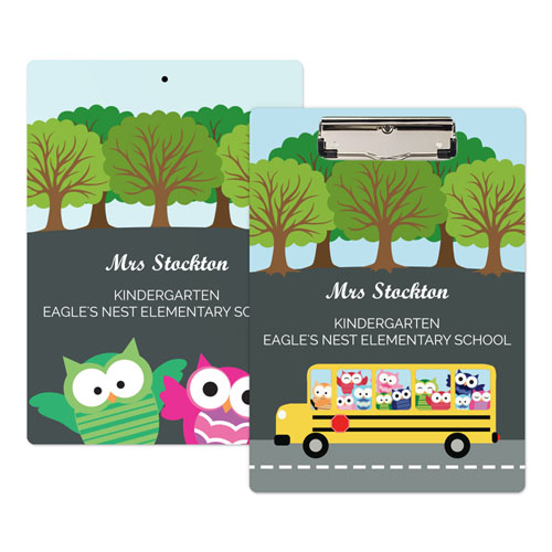 Cute Owl School Bus Personalized Clipboard