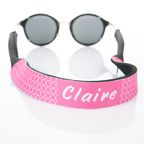 Hot Pink Circle Monogrammed Sunglass Strap
