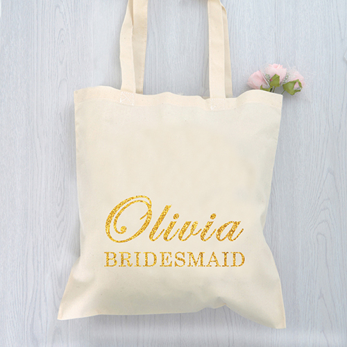 Glitter Bridesmaid Personalized Text Cotton Budget Tote Bag