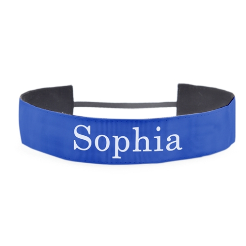 Blue Personalized Message 1.5 Inch Headband