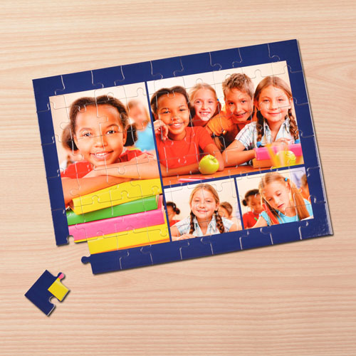 Personalized Navy 4 Collage 12X16.5 Photo Puzzle