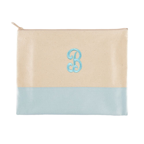 Embroidered Cosmetic Bag in Blue Trim, Large