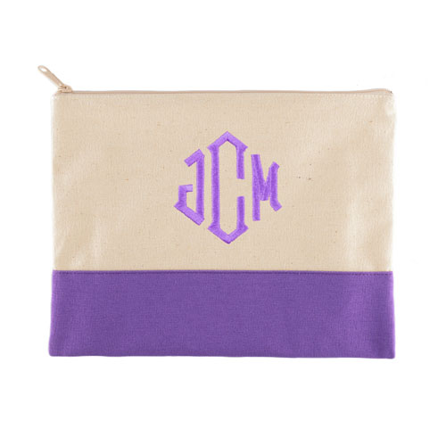 Embroidered Cosmetic Bag in Purple Trim, Large