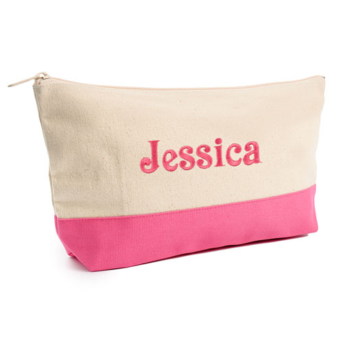 Embroidered Cosmetic Bag with Hot Pink Trim