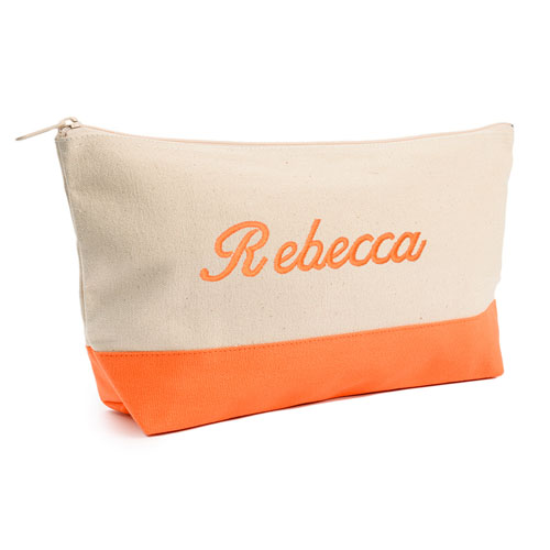 Embroidered Cosmetic Bag with Orange Trim