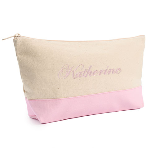 Embroidered Cosmetic Bag with Pink Trim