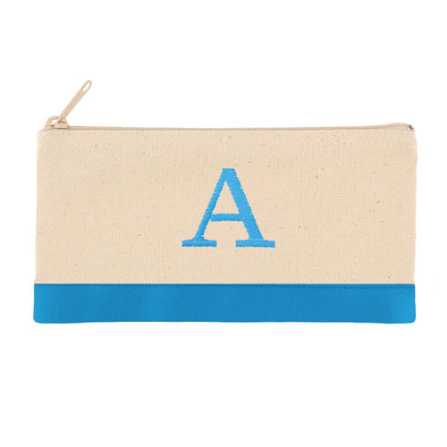2 Tone Aqua Personalized Embroidered One Initial Small (Single Side) Cosmetic Bag