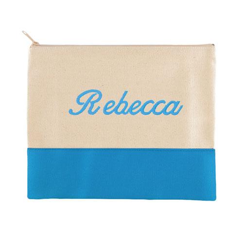 Embroidered Name Natural Aqua Zip Bag (7.5 X 9 Inch)